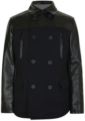 DKNY Leather Panel Coat