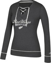 adidas Women's Heathered Black Detroit Red Wings Skate Through Long Sleeve Lace-Up V-Neck T-Shirt