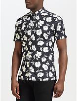 J. Lindeberg Daniel Hibiscus Short Sleeve Shirt, Black/white