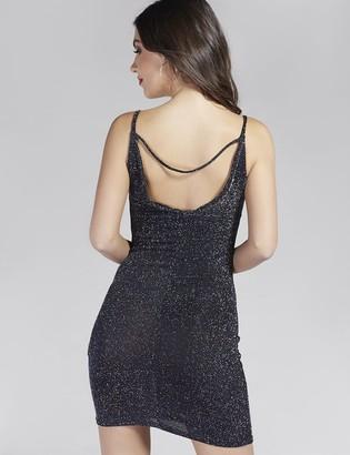 Public Desire Uk Metallic Cowl Neck Mini Dress