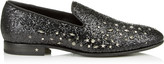 THAME Black Galactica Glitter Fabric Slipper with Mixed Studs