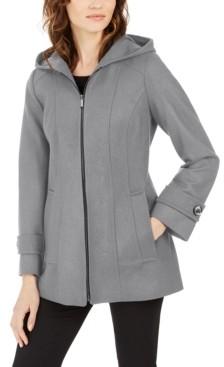 London Fog Petite Zip-Front Hooded Coat