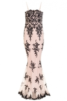 Quiz Nude Sequin Scallop Fishtail Maxi Dress