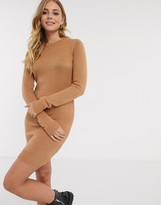 Brave Soul grungy round neck sweater dress in camel