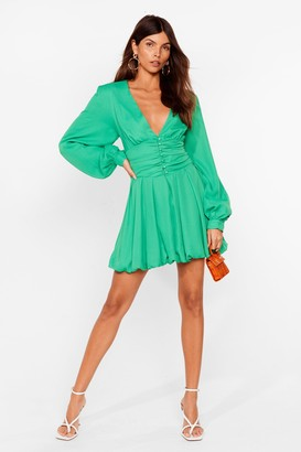 Nasty Gal Womens Button-Down to Funky Town Mini Dress - Green