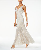 Adrianna Papell Beaded Illusion Tulle Gown