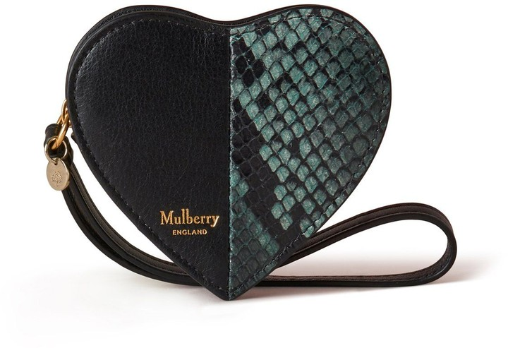 Mulberry Heart Coin Zip Purse Green Python Printed Leather and Silky Calf