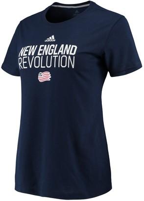adidas Women's Navy New England Revolution Performance Locker Stacked T-Shirt
