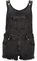 River Island Womens Washed black raw overall shorts