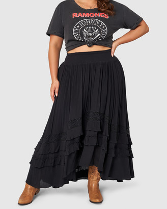 The Poetic Gypsy - Women's Black Maxi skirts - Frontier Maxi Skirt - Size One Size, 10 at The Iconic