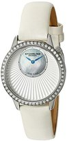 Stuhrling Original Women's 336.121P2 Vogue Swiss Quartz White Genuine Leather Strap Watch