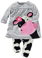 xirubaby 2016 baby girl clothes casual long-sleeved Dress-shirt+Pants suit (13-18 Month)