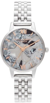 Olivia Burton Women's Abstract Floral Stainless Steel Bracelet Watch 30mm