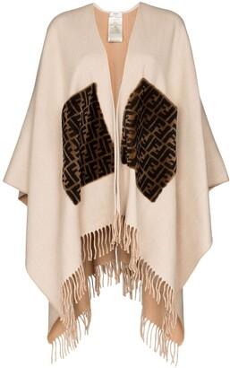 Fendi Fringed Logo Cashmere And Wool Poncho