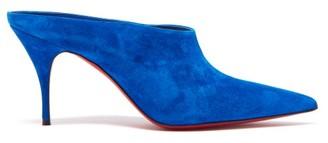Christian Louboutin Quart 80 Suede Mules - Womens - Blue
