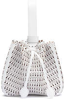 Alaia White laser-cut leather mini bucket bag