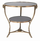 The Well Appointed House Antique Brass Side Table with Black Marble Tops