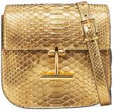 Tom Ford Tara Small T Clasp Python Shoulder Bag