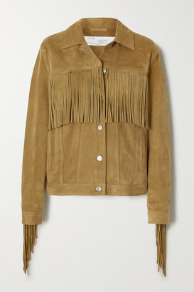 IRO Russell Fringed Suede Jacket - Camel