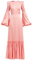The Vampire's Wife Cosmo Floral-jacquard Satin Maxi Dress - Womens - Pink