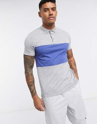 Asos DESIGN polo shirt with contrast body panel in gray marl