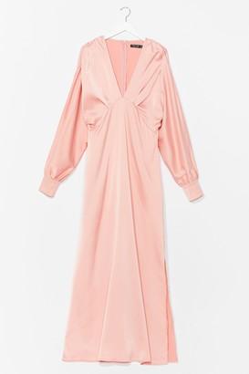 Nasty Gal Womens Category is Satin Midi Dress - Apricot