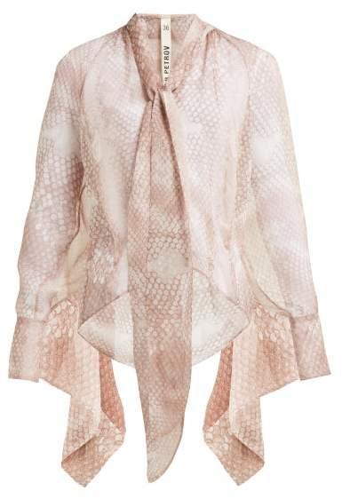Petar Petrov Blaine Snakeskin Print Silk Blouse - Womens - Light Pink