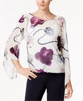 Alfani Petite Printed Angel-Sleeve Blouson Top, Only at Macy's