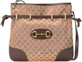 Gucci 1955 Horsebit Messenger Bag in Beige & Maroon   FWRD