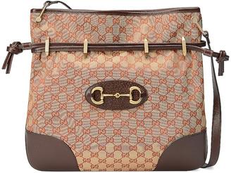 Gucci 1955 Horsebit Messenger Bag in Beige & Maroon | FWRD
