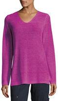Eileen Fisher Long-Sleeve Organic Linen V-Neck Top, Petite