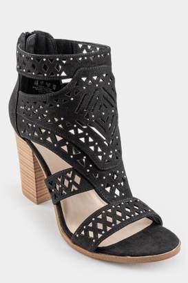 Fergalicious Vellum Laser Cut Heeled Sandal - Black