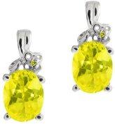 Gem Stone King 3.21 Ct Oval Mystic Topaz and Diamond 14k White Gold Earrings