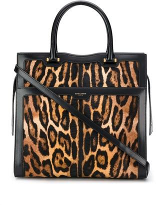 Saint Laurent leopard print textured tote