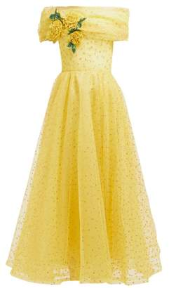 Rodarte Floral Applique Polka Dot Tulle Gown - Womens - Yellow Multi