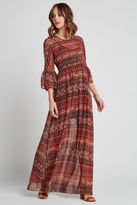 BCBGeneration Tapestry Print Boho Dress - Coffee Bean