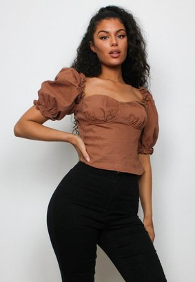 Missguided Tall Camel Puff Sleeve Corset Denim Top