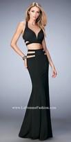 La Femme Multi Strap Open Back Two Piece Gown