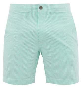 Onia Calder Pinstriped Seersucker Swim Shorts - Mens - Green
