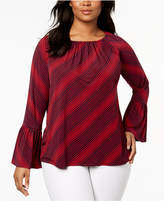 MICHAEL Michael Kors Size Printed Bell-Sleeve Top