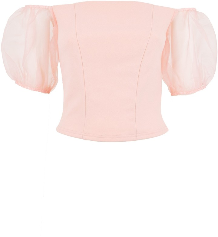 Thumbnail for your product : New Look Organza Puff Sleeve Bardot Top