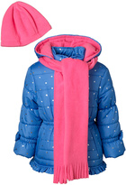 Pink Platinum Periwinkle Star Ruffle Puffer Coat Set - Toddler & Girls