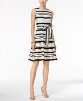Tommy Hilfiger Satin Stripe Fit & Flare Dress
