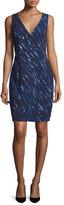 Milly Sleeveless Brushstroke-Print Sheath Dress, Blue