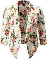 SHOPQUEEN Plus Size Textured Floral Print Blazer Office Work Formal Cardigan Jacket WHITEREDL