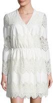 WAYF White Shores Lace-Inset Faux-Wrap Dress, Ivory