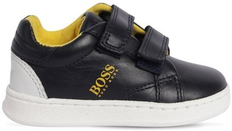 HUGO BOSS Logo Print Leather Strap Sneakers