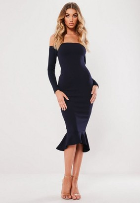 Missguided Navy Bardot Fishtail Bodycon Dress