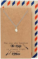 Quan Jewelry Gifts for Mom, Dad, Cooks Butcher Knife Necklace and Greeting Card, 16-inch to 18-inch