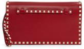 Valentino Red Foldover Rockstud Clutch